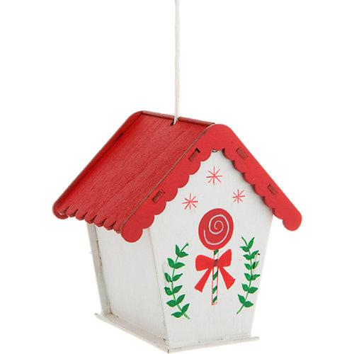 Adorno casita de madera colgante blanco mate navidad 8 cm