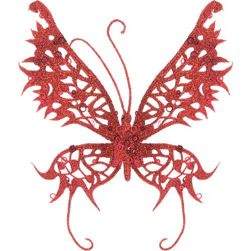 Adorno clip mariposa roja 18 cm
