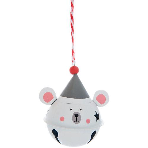 Adorno cascabel de ratón navideño 9 cm