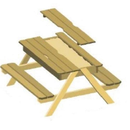 Mesa de jardín para niños de madera maciza soulet neutro de 90x50x91.5 cm