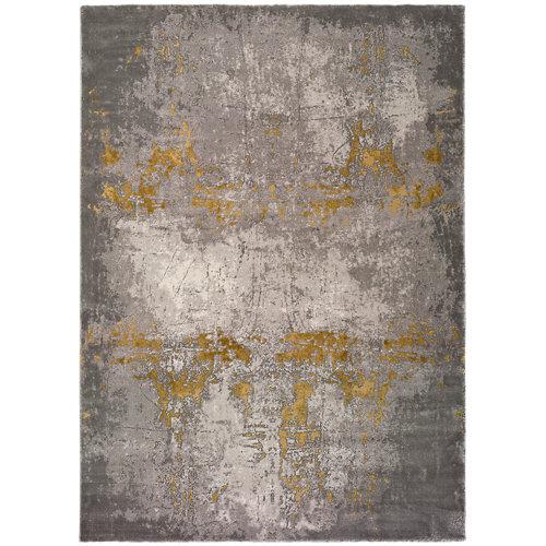 Alfombra abstracta color amarillo / dorado 160cm x 230cm