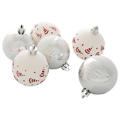Set de 6 bolas navidad blanco ø 6 cm