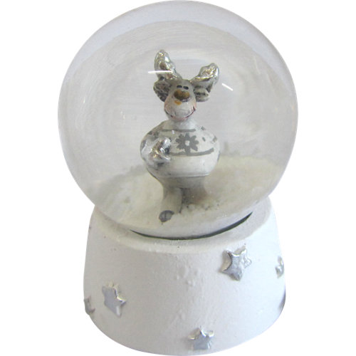 Adorno de bola de agua con duende blanco 6 cm