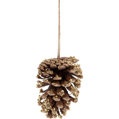Adorno colgante de piña marrón y dorado 11 cm