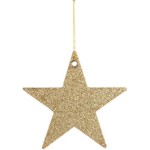 Adorno colgante de estrella dorado 10 cm
