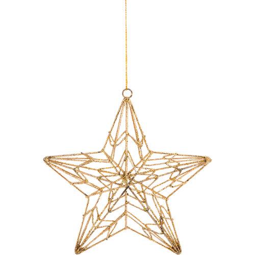 Adorno colgante de estrella dorado 15 cm