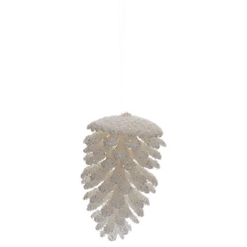 Adorno en forma de piña blanca navidad 11,5 cm