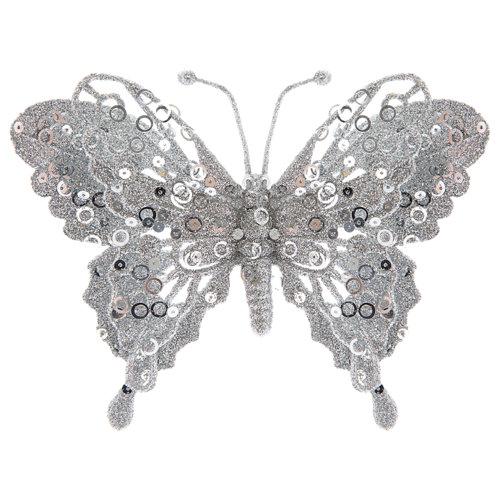 Adorno con clip mariposa plateada navidad 15 cm