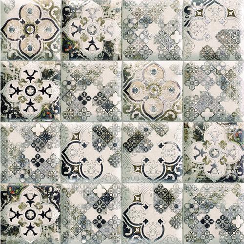 Ceramica cocina o baño/tunisia/mainzu/ blanco y metal 15x15