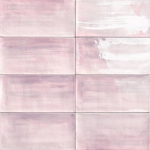 Ceramica cocina o baño/aquarel pink/mainzu/ rosa 15x30