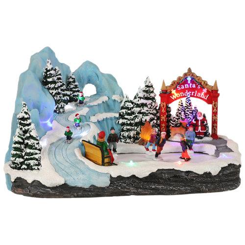 Ciudad de navidad led nevada 33x18,5x21,5 cm