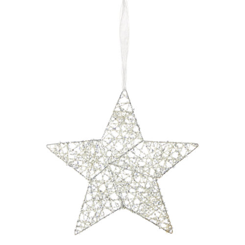 Adorno colgante estrella blanco 25 cm