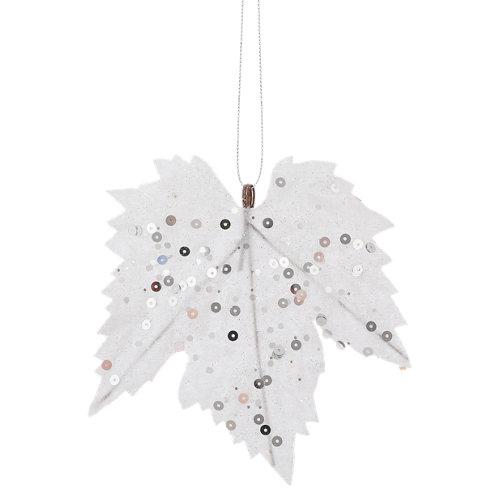 Set de 6 adornos colgantes de alce blanco plata 14 cm