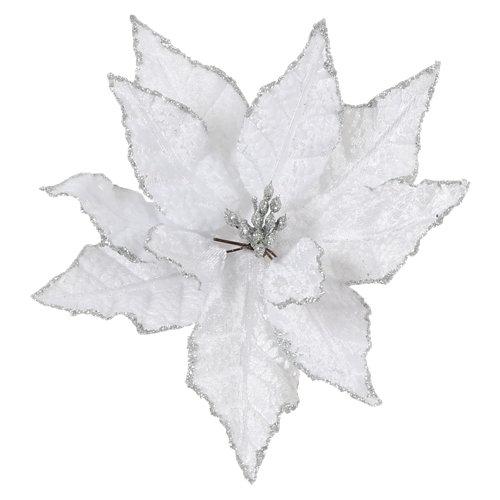 Adorno poinsettia blanco navidad 20 cm
