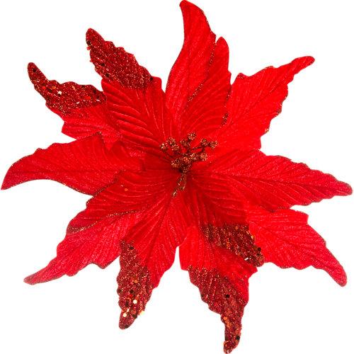 Adorno clip poinsettia rojo 27 cm