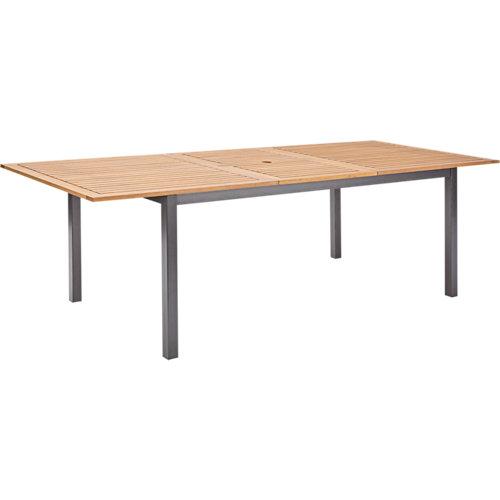 Mesa extensible de aluminio y madera oris de 100x180/240 cm