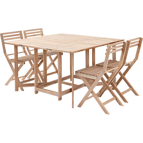 Conjunto de muebles de exterior de acacia naterial solis para 4 personas