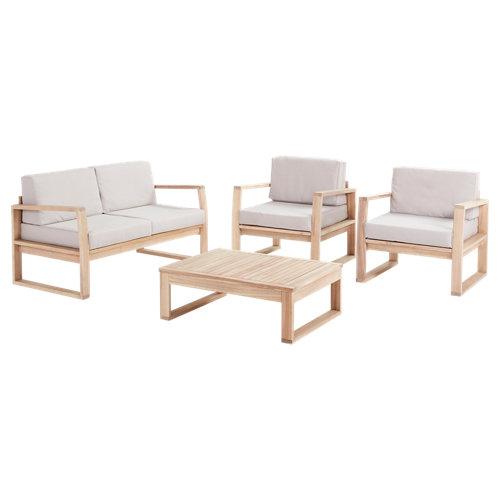 Set de sofás y mesa baja solaris de madera para 4 personas