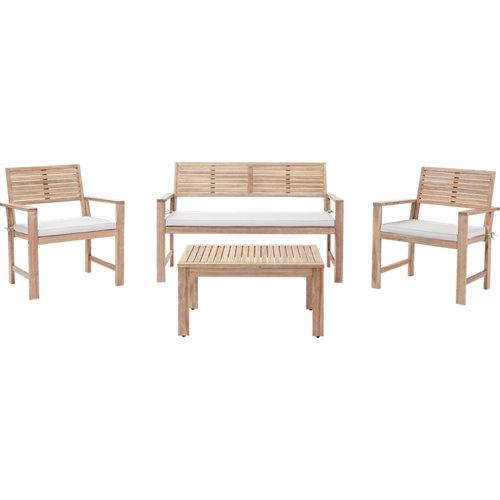 Set de sofás y mesa baja naterial solis de madera para 4 personas