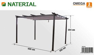Pérgola de aluminio NATERIAL Omega negro de 400x282 cm · LEROY MERLIN