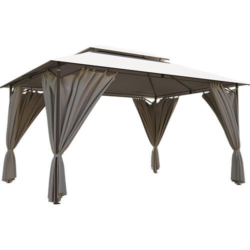 Pérgola de acero naterial oxis gris y topo de 300x400 cm