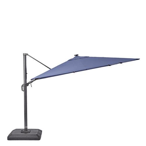 Parasol excéntrico naterial sonora led azul 288x288 cm