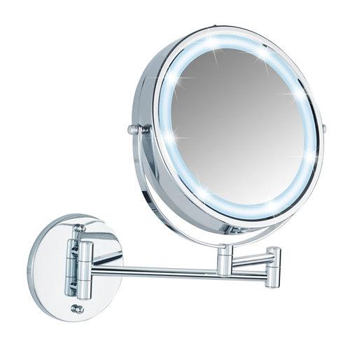 Espejo de aumento con luz x 5 gris /plata