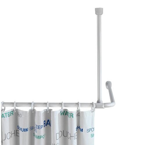 Barra soporte cortina baño blanca 57 cm