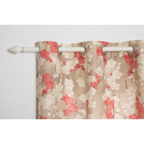 Cortina otaru con motivo floral beige de 270 x 140 cm