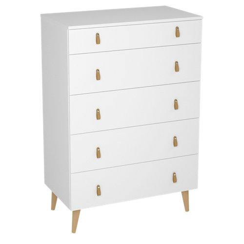 Cajonera 5 cajones serie retro blanca 124x80x48cm (altoxanchoxfondo cm)