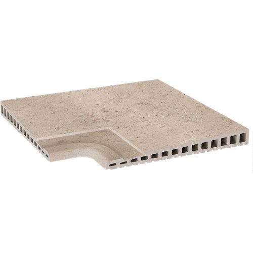 Ángulo de peldaño extrusionado beige de 33 x 33 cm