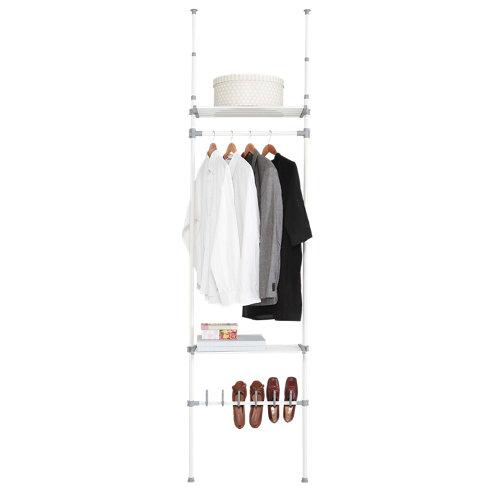 Kit vestidor blanco extensible dress 2 estantes y 1 zapatero 240x68x25 cm
