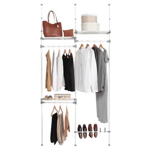 Kit vestidor blanco extensible doble dress 3 estantes y 1 zapatero 240x126x25 cm