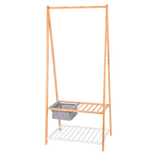 Perchero portátil sin ruedas bambú 2 estantes 160x70x45cm