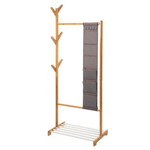 Perchero portátil sin ruedas bambú 1 estante 167x65x38cm