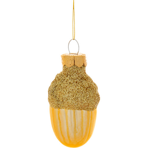 Set 12 adornos de bellota oro 4 cm