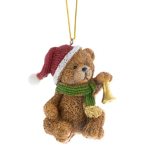 Adorno colgante de oso con gorro marrón y rojo 4 cm