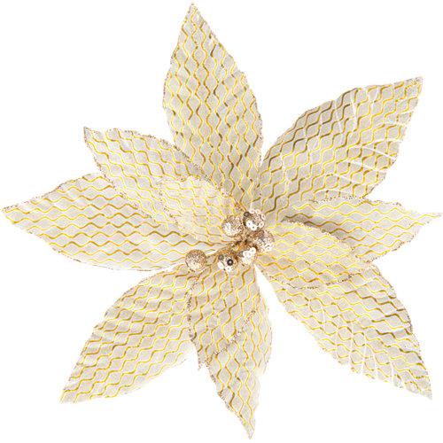 Flor poinsettia oro navidad 29x29x29 cm