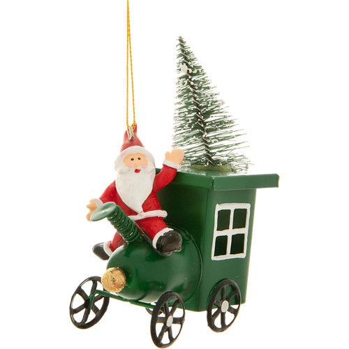 Adorno colgante de vehículo rojo y verde 11 cm