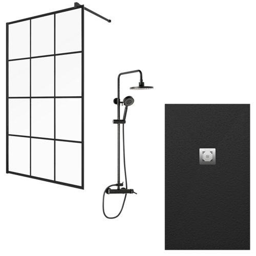 Plato ducha impact, panel ducha cool factory y conjunto ducha hera