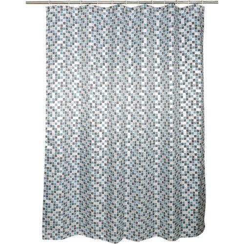 Cortina de baño mosaic azul poliéster 180x200 cm