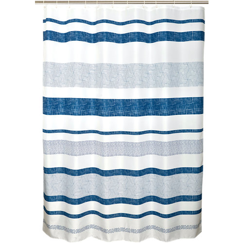 Cortina de baño tipee azul poliéster 180x200 cm
