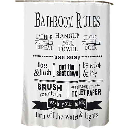 Cortina de baño reglas multicolor poliéster 180x200 cm