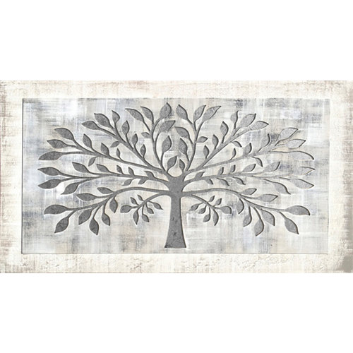 Pintura láser árbol gris 60 x 110 cm