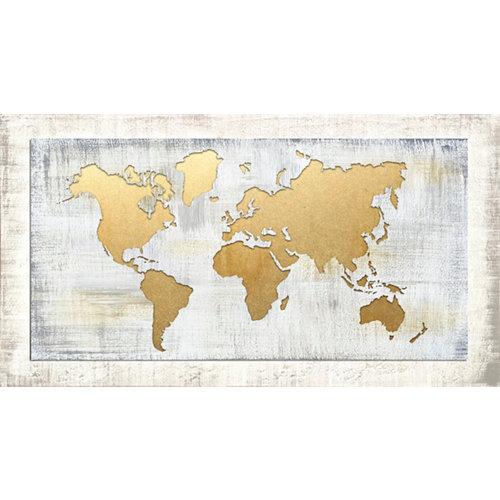 Pintura láser mapamundi dorado 60 x 110 cm