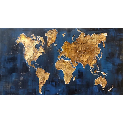Pintura original mapa azul 60 x 110 cm