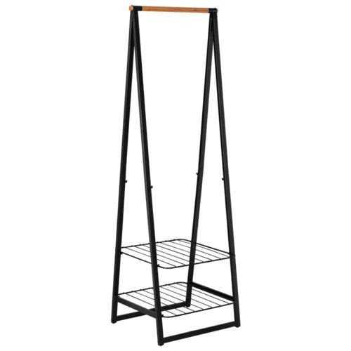 Perchero portátil linn mini negro 2 estantes 190x60x57cm