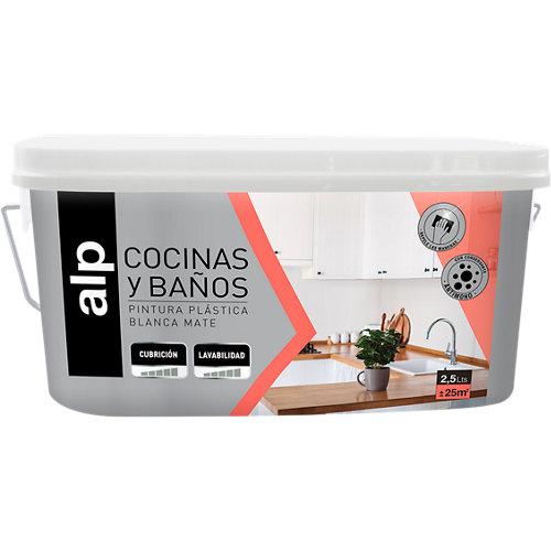 Pintura monocapa para cocinas y baños blanco 2,5l