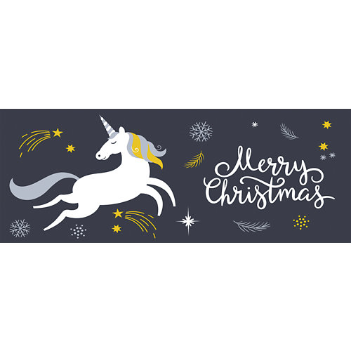 Sticker decorativo white unicorn infantil 32x200 cm