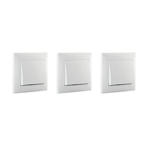 Pack de 3 conmutadores monoblock lika color blanco